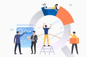 Group of analysts working on graphs. Building chart, presentation, report. Analysis concept. Vector illustration can be used for topics like business, marketing, teamwork